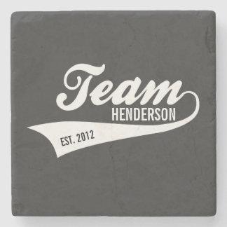 Cool Custom Family Team Name Retro Sports Logo Stone Coaster