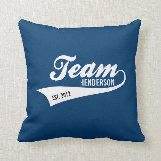 Cool Custom Family Team Name Retro Sports Logo Throw Pillow