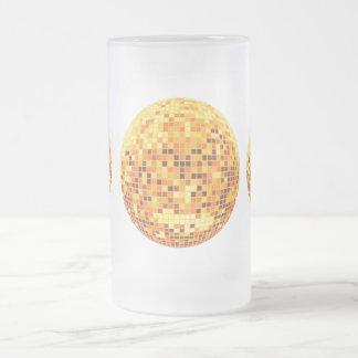 Cool Custom Retro Golden Disco Ball Designs 16 Oz Frosted Glass Beer Mug