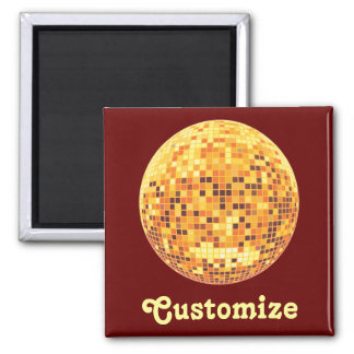 Cool Custom Retro Golden Disco Ball Designs 2 Inch Square Magnet