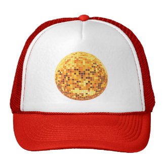 Cool Custom Retro Golden Disco Ball Designs Trucker Hats
