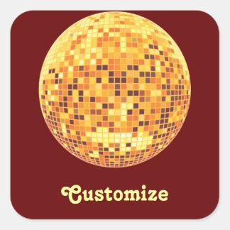 Cool Custom Retro Golden Disco Ball Designs Square Sticker