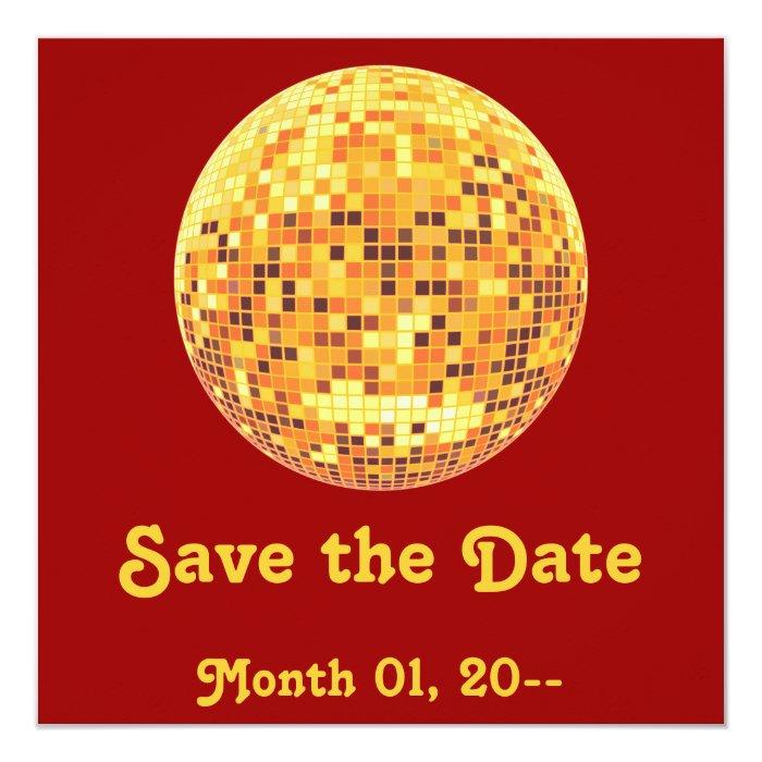 Cool Custom Retro Golden Disco Ball Invitation