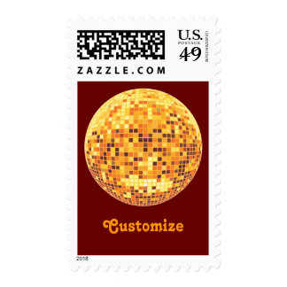 Cool Custom Retro Golden Disco Ball Postage Stamps