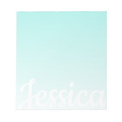 Cool Customizable Teal Gradient Ombre Your Script Notepad