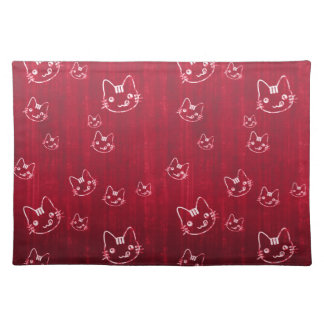 Cool  cute abstract kitty cherry red placemat cloth placemat
