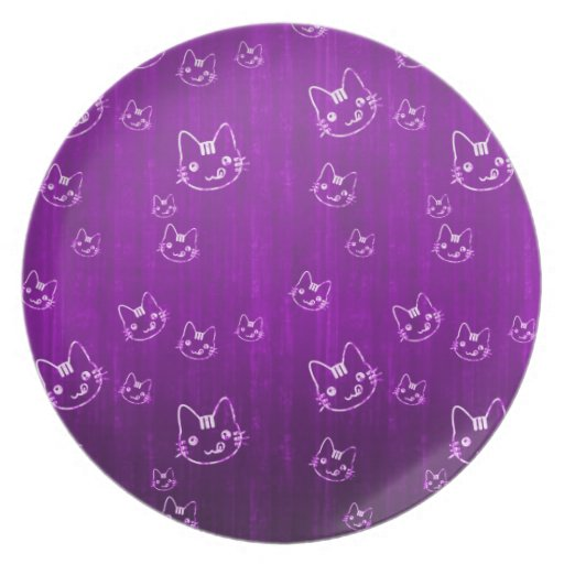 Cool cute abstract kitty purple nplate dinner plate