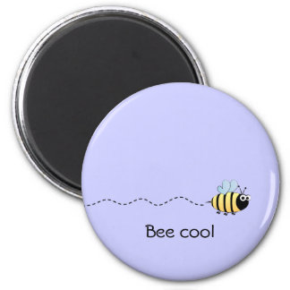 Cool cute bee cartoon funny pun purple magnet