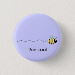 Cool cute bee cartoon pun purple button