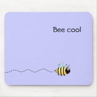 Cool cute bee cartoon pun purple mouse pad