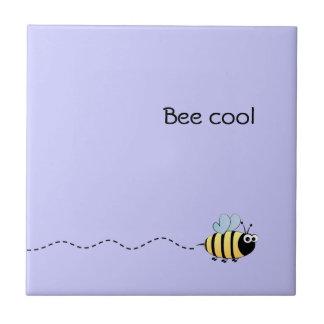 Cool cute bee cartoon pun purple tile