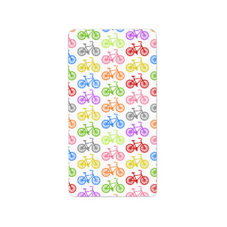 Cool cute bicycle pattern colourful seamless address label