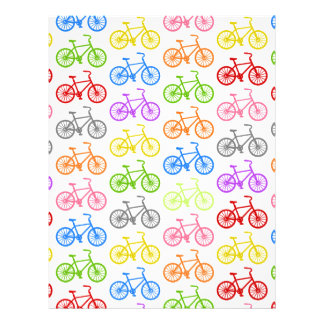 Cool cute bicycle pattern colourful seamless letterhead template