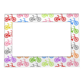Cool cute bicycle pattern colourful seamless magnetic picture frame