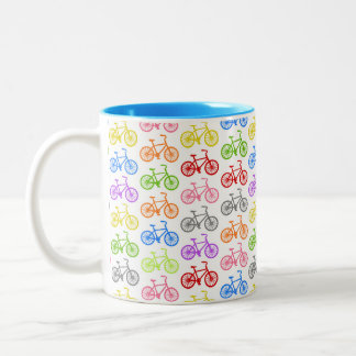Cool cute bicycle pattern colourful seamless coffee mug