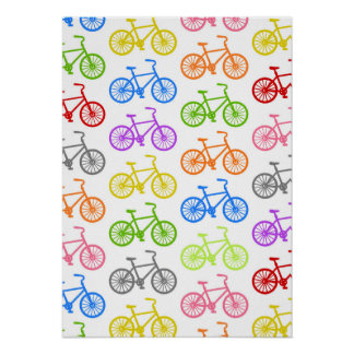 Cool cute bicycle pattern colourful seamless poster