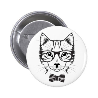 Cool Cute Black Cat Hipster Buttons