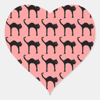 cool cute black cat pattern heart sticker