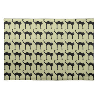 cool cute black cat pattern placemats