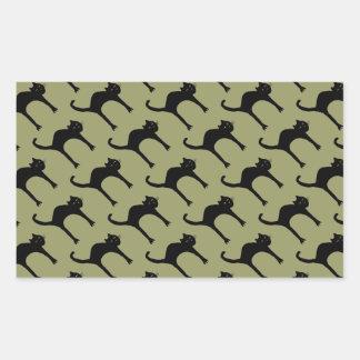 cool cute black cat pattern rectangular sticker