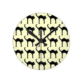 cool cute black cat pattern round clock