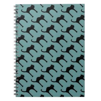 cool cute black cat pattern spiral notebook