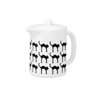 cool cute black cat pattern teapot