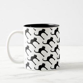cool cute black cat pattern Two-Tone coffee mug