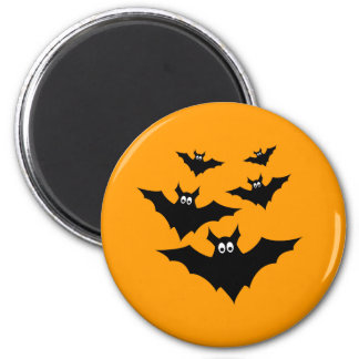Cool cute Black Flying bats Halloween on Orange 2 Inch Round Magnet