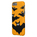 Cool cute Black Flying bats Halloween on Orange Barely There iPhone 6 Case