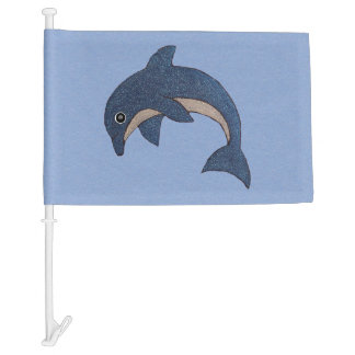 Cool Cute Blue White Sparkles Jumping dolphin Car Flag