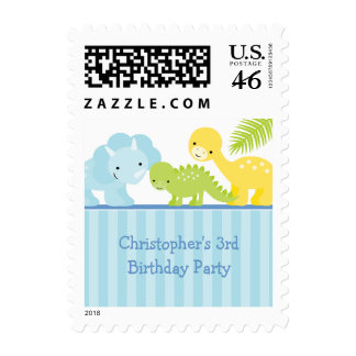 Cool cute boy's dinosaur birthday party stamps