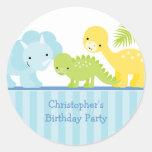 Cool cute boy's dinosaur birthday party stickers