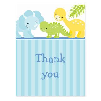 Cool cute boy's dinosaur thank you postcard