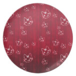 Cool cute cat kitty neko japanese cherry red dinner plates