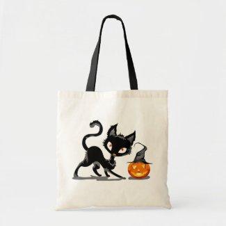 COOL CUTE FUN PUMPKIN & CAT HALLOWEEN TOTE BAGS