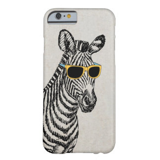 Cool cute funny zebra sketch with trendy glasses barely there iPhone 6 case