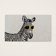 Cool Cute Funny Zebra Sketch With Trendy Glasses Business Card at Zazzle