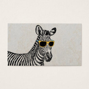 Funny business cards templates zazzle cool cute funny zebra sketch with trendy glasses business card wajeb Gallery