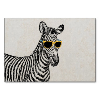 Cool cute funny zebra sketch with trendy glasses card