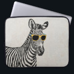 "Cool cute funny zebra sketch with trendy glasses computer sleeve<br><div class=""desc"">Cool cute funny zebra sketch with yellow and blue retro trendy glasses,  old grey paper background. Personalize it with your name favourite word or phrase by clicking the customise button and add text,  choose the text font and colour. Image print</div>"