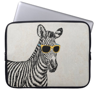 Cool cute funny zebra sketch with trendy glasses computer sleeve