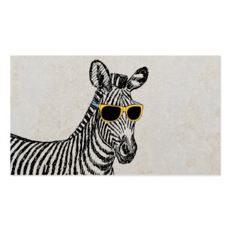 Cool cute funny zebra sketch with trendy glasses Double-Sided standard business cards (Pack of 100)