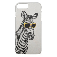 Cool cute funny zebra sketch with trendy glasses iPhone 8 plus/7 plus case