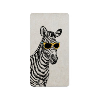 Cool cute funny zebra sketch with trendy glasses custom address labels