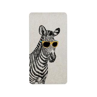 Cool cute funny zebra sketch with trendy glasses custom address labels