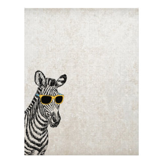 Cool cute funny zebra sketch with  trendy glasses letterhead