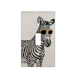 Cool cute funny zebra sketch with trendy glasses light switch plates