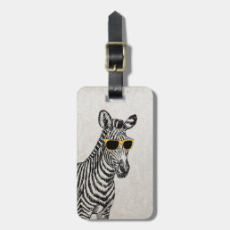 Cool cute funny zebra sketch with  trendy glasses luggage tag
