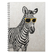 Cool cute funny zebra sketch with  trendy glasses notebook